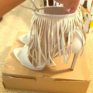 Zara Fringe High Heel Sandals Nude